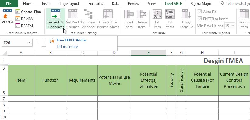 Convert FMEA Form