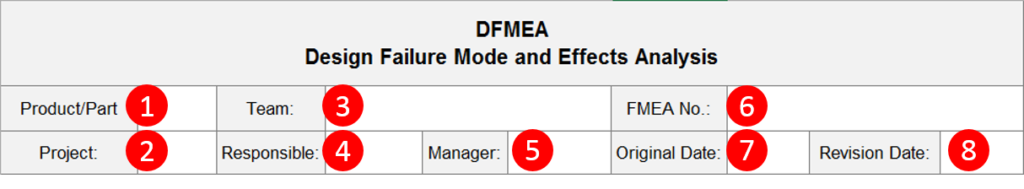 DFMEA Template Header