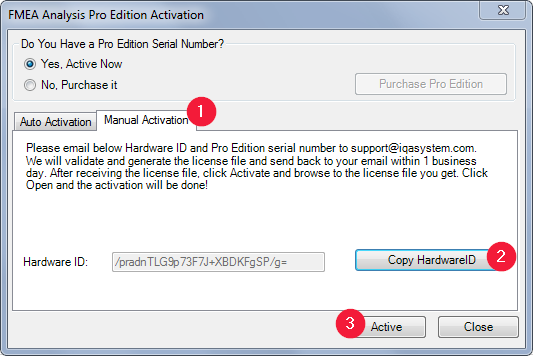 FMEA Analysis Pro Edition Manual Activation