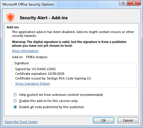 Security Warning Trusted Add-In publisher